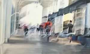 op087-liliana cecchin In the city before the covid olio su tela 115 x 70