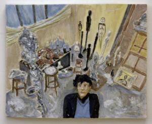 op093-marco petean Alberto Giacometti nel suo studio Terracotta ed engobbi 39x31x6