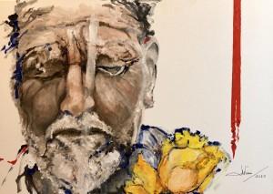 op104-marilena visini l'uomo dai tulipani gialli olio su tela 50x70