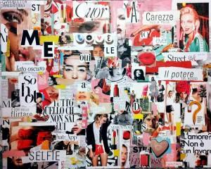 op107-melissa marinozzi Woman collage di riviste moda su tela 80 x 100 2019