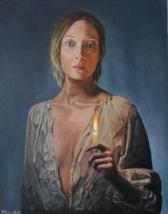 op114-nadia ferrante La luce della speranza olio su tela 50x40