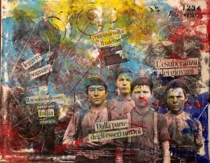 op122-pietro pancotto C'era una volta Collage e pittura acrilica su tela 100x80