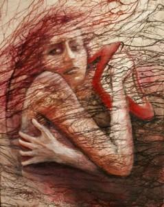 op124-roberta zambon Artemisia pittura tecnica mista su tela 40×50