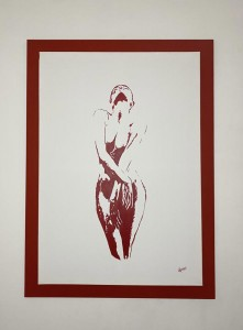 op127-ronal bejarano Ballerina in rosso acrilico su tela 82x112