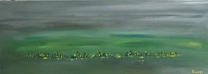 op133-salvatore piras Green landscape acrilico su tela cm30 per 80 2020