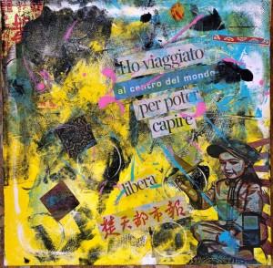 op168-pietro pancotto Il viaggio Collage e pittura acrilica su tela 50x50