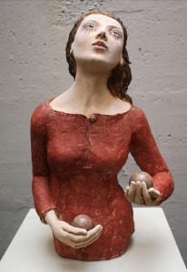 or09-Cristina Costanzo IL giocoliere scultura in terracotta policroma riciclo h 55 cm