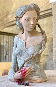 or10-cristina costanzo Ofelia la pazza scultura in terracotta policroma riciclo h 49 cm