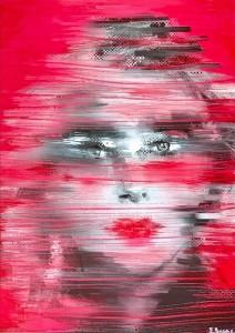 or19-enrica badas Women's faces Model 85 dipinto digitale su foto stampato su alu dibond e pittura acrilica