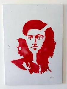 or23-giorgio pirastu Rosso con fusione Remixed media spray painting acrilico su lastra metallica 70x100 cm