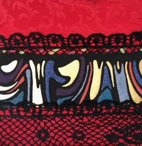 or31-marco giau Dance Me To The End Of Love Pittura Collage di tessuti Sabbie colorate e lamina d'Oro 24x24