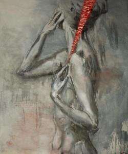 or40-martina dalla stella Rammendi l'arte rammenda l'anima Pittura olio e filo su tela 160x120 cm