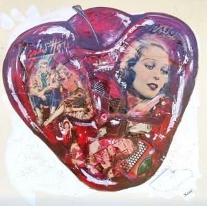 or54-sara lovari Cherry Pittura mix media acrilico collage su tela 80x80cm
