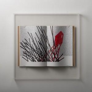0002 Andrea Cerquiglini - Eremo-1-Grafica-Penne-a-gel-su-quaderni-per-appunti-scatola-in-metacrilato-48x48