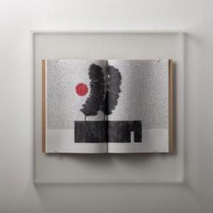 0003 Andrea Cerquiglini - Giardino-segreto-2-Penne-a-gel-su-quaderni-per-appunti-scatola-in-metacrilato-48x48