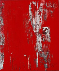 0028 Giovanni Greco - RED-FADE-OUT-1-pittura-smalto-stucco-ritaglio-su-tela-60x50