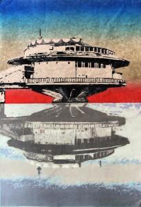 0041 Omer Zaballa - Hiroshige-amanece-en-Poplavok-Xilografia-y-punta-seca-Papel-coreano-100x70cm-9-planchas-tintas-Edición-de-10-ejemplares-Estampado-en-La-Taller-Bilbao