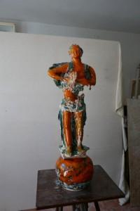 0049 Rosa Madonna - Giocoliera-scultura-Terracotta-smaltata-100x35x27