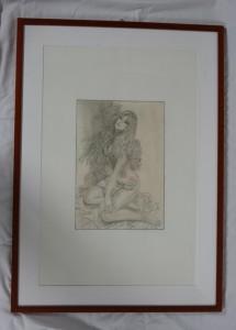 0011 Antonio Torino - prospettiva-di-una-donna-Carboncino-e-matita-su-foglio-fabriano-cm-50-x-70-con-cornice--0011-0011