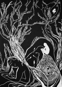 0042 - Lara Monica Costa - Genitrice-Tecnica-linoleumgrafia-Misure-stampata-su-carta-70cmx100cm-matrice-linoleum-50cm70cm-0042-0042