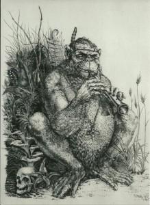 0064 Marc Dautri - Scimmia-musicante-bulino-su-rame-cm-20x27-0064-0064