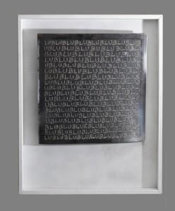 0066 Marco Ceraglia - Monocromo-Monosillabe-Incisione-MIG-su-lamiera-al-carbonio-50x50-0066-0066