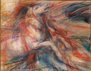 0009 Antonio Giuliani - Cavallo.matite-acquarello-su-tela-con-spessori-in-carta.120-x80-0009
