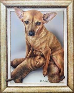 0021 Daniela Foddi - Lilly-e-i-suoi-cuccioli-Acrilico-su-pannello-di-multistrato-di-pioppo-Misura30x40-0021