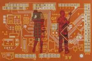 0040 Gianluigi Braggio - Selfie-colori-acrilici-su-sughero-cm-100x150-complessivi-elementi-50x50-sul-retro-gancetti-e-placche-metalliche-per-adesione-con-calamita-0040
