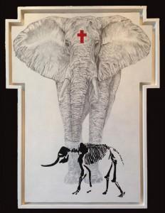 0058 Luca Dalmazio -The-Big-Elephant-matita-e-acrilico-su-tavola-49x66-0058
