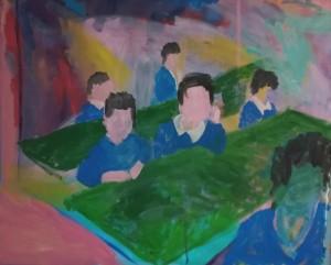 0065 Marco Crispano - Primo-giorno-di-scuola-Acrilico-e-gesso-su-tela-100x80cm-0065