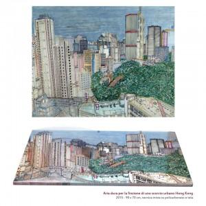 0096 Pietro Dente - Aria-dura-per-la-finzione-di-uno-scorcio-urbano-Hong-Kong-tecnica-mista-su-policarbonato-e-tela-90x70-0096